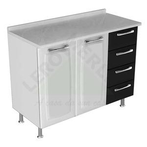 Gabinete de Cozinha Aço Branco e Preto Itatiaia Anita 86x105x45cm