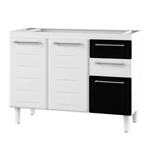 Gabinete de Cozinha Para Pia Aço Branco/Preto 2 Portas Contemporâneo 89x117,3x50cm Zeus Cozimax