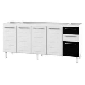 Gabinete de Cozinha Para Pia Aço Branco/Preto 4 Portas Contemporâneo 89x174,5x50cm Zeus Cozimax