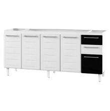 Gabinete de Cozinha Para Pia Aço Branco/Preto 4 Portas Contemporâneo 89x192,1x50cm Zeus Cozimax