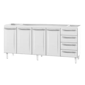 Gabinete de Cozinha Para Pia Aço Branco 4 Portas Contemporâneo 89x192,1x46,1cm Quality Cozimax