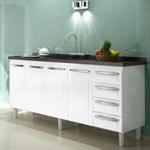 Gabinete de Cozinha Para Pia Aço Branco 4 Portas Contemporâneo 89x174,5x46,1cm Quality Cozimax