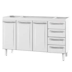 Gabinete de Cozinha Para Pia Aço Branco 3 Portas Contemporâneo 89x144,7x46,1cm Quality Cozimax