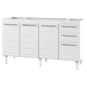 Gabinete de Cozinha Para Pia Aço Branco 3 Portas Contemporâneo 89x144,7x50cm Zeus Cozimax
