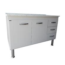 Gabinete de Cozinha com Pia Mármore Síntético 116cm Corrediça Carrara