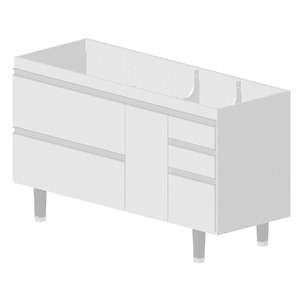 Gabinete de Cozinha Madeira Branco Bonatto Montreal 82x143,4x53cm