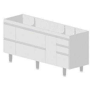 Gabinete de Cozinha Madeira Branco Bonatto Montreal 82x174,4x53cm
