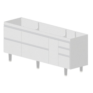 Gabinete de Cozinha Madeira Branco Bonatto Montreal 82x193,4x53cm