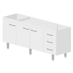 Gabinete de Cozinha Madeira Branco Bonatto Ferrara 82x193,4x53cm