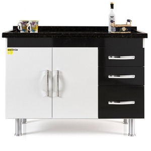 Gabinete de Cozinha Madeira Branco e Preto Delinia 0,83x1,15x0,51cm