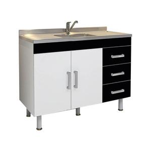 Gabinete de Cozinha Madeira Branco e Preto Policlass Clean 69x114x48 cm