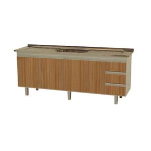 Gabinete de Cozinha Montado Madeira Carvalho Bonatto Montreal 82x174,4x53cm