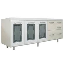 Gabinete de Cozinha Para Pia MDF Branco/Biscuit 3 portas Contemporâneo 81x174x43cm Blumenau Darabas