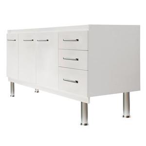 Gabinete de Cozinha Para Pia MDF Branco 3 portas Clássico 75x144x52cm Kolina Darabas