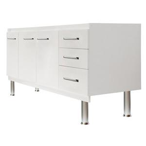 Gabinete de Cozinha Para Pia MDF Branco 3 portas Clássico 75x154x52cm Kolina Darabas
