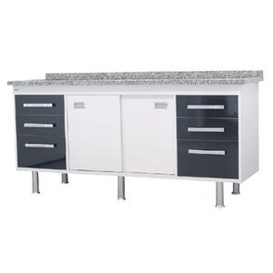 Gabinete de Cozinha Para Pia MDP Branco/Preto 2 Portas 65x194x56cm Ravenna Bonatto