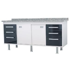 Gabinete de Cozinha Para Pia MDP Branco/Preto 2 Portas 65x174x56cm Ravenna Bonatto