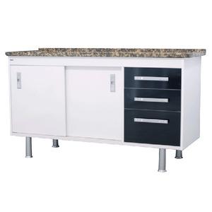 Gabinete de Cozinha Para Pia MDP Branco/Preto 2 Portas 65x144x56cm Ravenna Bonatto