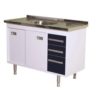 Gabinete de Cozinha Para Pia MDP Branco/Preto 2 Portas 65x114x56cm Ravenna Bonatto