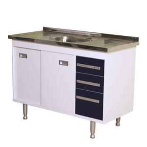 Gabinete de Cozinha Para Pia MDP Branco/Preto 2 Portas 65x96x56cm Ravenna Bonatto