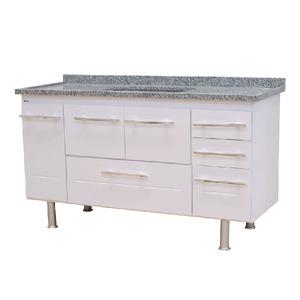 Gabinete de Cozinha Para Pia MDP Branco 3 Portas 65x144x56cm Life Bonatto