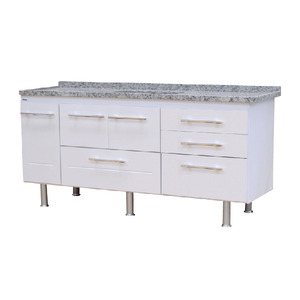 Gabinete de Cozinha Para Pia MDP Branco 3 Portas 65x194x56cm Life Bonatto