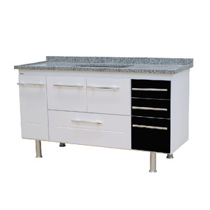 Gabinete de Cozinha Para Pia MDP Branco/Preto 3 Portas 65x144x56cm Life Bonatto