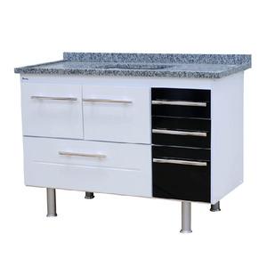 Gabinete de Cozinha Para Pia MDP Branco/Preto 2 Portas 65x114x56cm Life Bonatto