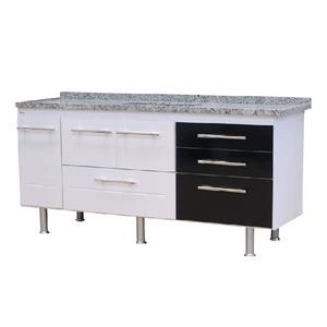Gabinete de Cozinha Para Pia MDP Branco/Preto 3 Portas 65x174x56cm Life Bonatto