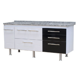 Gabinete de Cozinha Para Pia MDP Branco/Preto 3 Portas 65x194x56cm Life Bonatto
