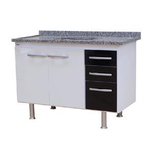 Gabinete de Cozinha Para Pia MDP Branco/Preto 2 Portas 65x114x56cm Vegas Bonatto