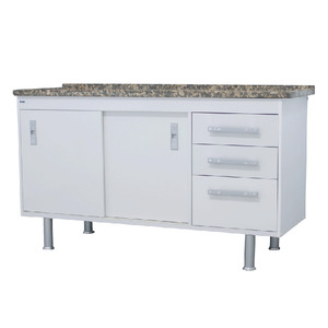 Gabinete de Cozinha Para Pia MDP Branco 2 Portas 65x144x56cm Ravenna Bonatto