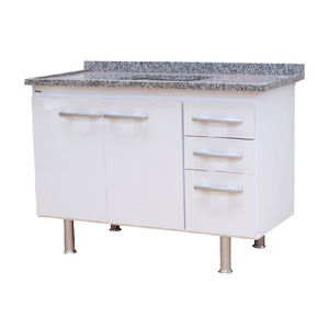 Gabinete de Cozinha Para Pia MDP Branco 2 Portas 65x114x56cm Vegas Bonatto