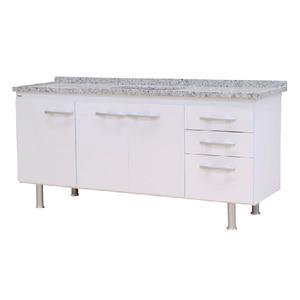Gabinete de Cozinha Para Pia MDP Branco 3 Portas 65x174x56cm Vegas Bonatto
