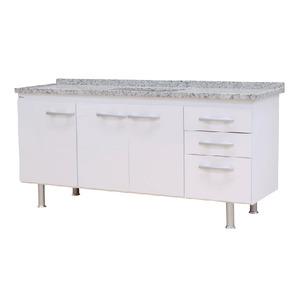 Gabinete de Cozinha Para Pia MDP Branco 3 Portas 65x194x56cm Vegas Bonatto