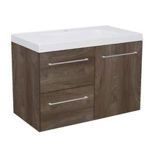 Gabinete Modulado para Banheiro com 1 Porta 2 Gavetas 90x46cm Amadeirado Escuro Remix