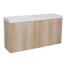 Gabinete Modulado para Banheiro com 2 Portas 2 Gavetas 120x32cm Amadeirado Claro Remix