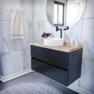 Gabinete Para Banheiro Simples Mdf 52x80x40cm Valencia Preto Fosco Darabas Agardi