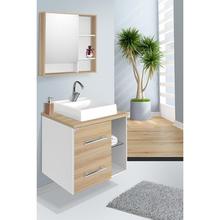 Gabinete para Banheiro Blocc 57x60x42cm Branco e Carvalho Fabribam