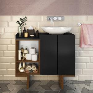 Gabinete Para Banheiro Com 2 Portas E 2 Prateleiras Set Estilare Preto