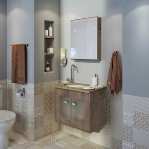 Gabinete para Banheiro com Espelho 45x56,6x35,5cm Wengue Siena Gaam