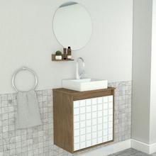 Gabinete para Banheiro com Espelho 52,7x50x30cm Ébano e Branco Carol Darabas Agardi