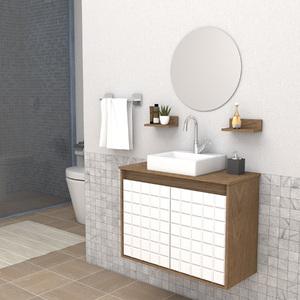 Gabinete para Banheiro com Espelho 52,7x70x30cm Ébano e Branco Carol Darabas Agardi