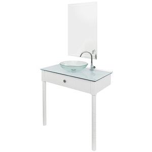 Gabinete para Banheiro com Espelho Cris-Wood SET 2 9,5x6x6cm Branco Cris Metal