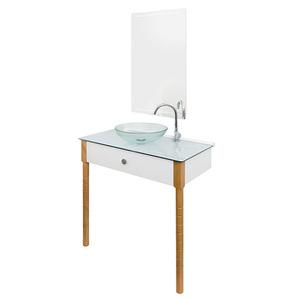Gabinete para Banheiro com Espelho Cris-Wood SET 2 9,5x6x6cm Amadeirado Cris Metal