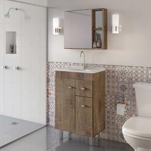 Gabinete para Banheiro com Espelho 90x56,6x35,5cm Wengue Celta Gaam