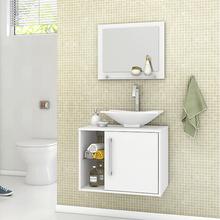 Gabinete para Banheiro com Espelho Baden 46x60x45cm Branco Moveis Bechara