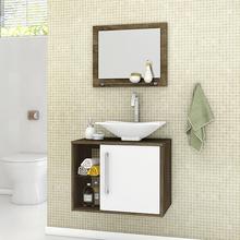 Gabinete para Banheiro com Espelho Baden 46x60x45cm Madeira Rústica/Branco Moveis Bechara
