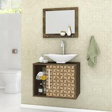 Gabinete para Banheiro com Espelho Baden 46x60x45cm Madeira Rústica/Madeira 3D Moveis Bechara