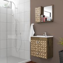Gabinete para Banheiro com Espelho Catar 54x56x29,6cm Madeira Rústica|Madeira 3D Moveis Bechara